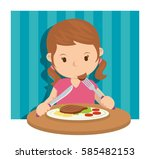 a girl eating sandwiches for... | Shutterstock .eps vector #585482153