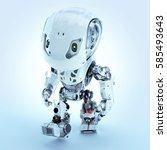 walking cute robot in top view... | Shutterstock . vector #585493643