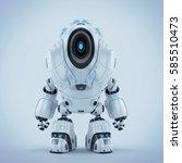 white alien robot with big hood ... | Shutterstock . vector #585510473