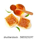 honey in glass bowl with spoon... | Shutterstock . vector #585525197