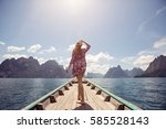 happy female traveling on boat... | Shutterstock . vector #585528143