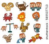 cartoon zodiac signs. set of... | Shutterstock .eps vector #585537713