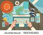 top view of travel planning ... | Shutterstock .eps vector #585540383