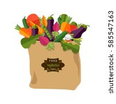 paper bag with healthy foods ... | Shutterstock .eps vector #585547163