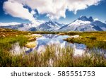 views of the mont blanc glacier ... | Shutterstock . vector #585551753