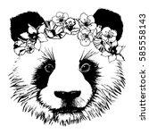 hand drawn panda with circlet... | Shutterstock .eps vector #585558143