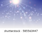 white glowing light burst with... | Shutterstock .eps vector #585563447