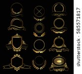 set of design gold elements and ... | Shutterstock .eps vector #585571817