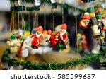 christmas toys at the fair. fir ...   Shutterstock . vector #585599687