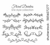 flourishes. hand drawn dividers ... | Shutterstock .eps vector #585607277
