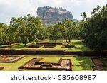 unique lion rock in sigiriya ... | Shutterstock . vector #585608987