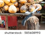 kings coconuts with knife on... | Shutterstock . vector #585608993