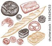 bakery set. bread white and...   Shutterstock .eps vector #585634253