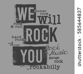 Rock Music Typography  Tee...