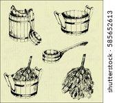vector sketch sauna items ... | Shutterstock .eps vector #585652613