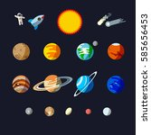 solar system objects  flat... | Shutterstock .eps vector #585656453