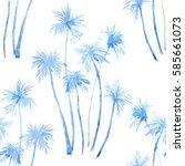 watercolor tropical summer... | Shutterstock . vector #585661073