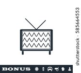 tv icon flat. black pictogram...