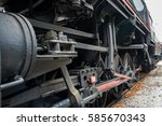 Small photo of Old refit locomotive exposed to admiration in misty weather