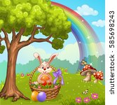cute easter greeting card with... | Shutterstock . vector #585698243