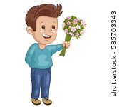 illustration of a cute boy with ... | Shutterstock . vector #585703343