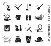 clean icons set. black on a... | Shutterstock .eps vector #585718877