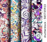 set of tracery colorful... | Shutterstock .eps vector #585735923