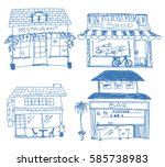 hand drawn store  shop ... | Shutterstock .eps vector #585738983