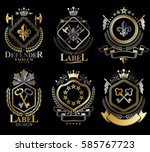 set of vector retro vintage... | Shutterstock .eps vector #585767723