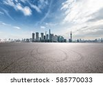 clean asphalt road with city... | Shutterstock . vector #585770033