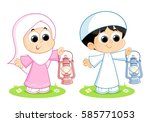 a muslim boy and girl carrying... | Shutterstock .eps vector #585771053