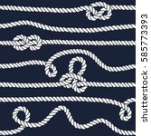 marine rope knot seamless... | Shutterstock .eps vector #585773393