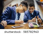 teen students are working... | Shutterstock . vector #585782963