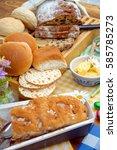 different sort of bread set on... | Shutterstock . vector #585785273