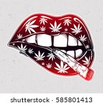 sexy fatal biting lips with... | Shutterstock .eps vector #585801413