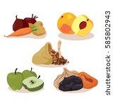 vegetarian foods  vegetables ... | Shutterstock .eps vector #585802943