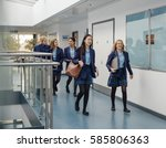 group of students are walking... | Shutterstock . vector #585806363