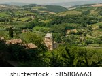 view over tuscananian landscape ... | Shutterstock . vector #585806663