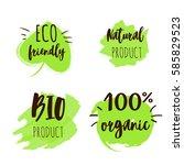 set of green logos  labels....   Shutterstock .eps vector #585829523