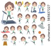 set of various poses of blue... | Shutterstock .eps vector #585837227