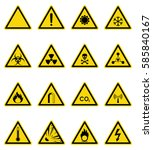 set of hazard warning sign.... | Shutterstock .eps vector #585840167
