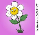 chamomile cartoon. chamomile... | Shutterstock .eps vector #585856307