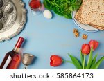 passover holiday concept seder... | Shutterstock . vector #585864173