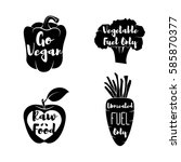 vegan labels set.   cocept.... | Shutterstock . vector #585870377