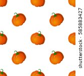 seamless pattern with pumpkins. ... | Shutterstock .eps vector #585883427