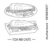 fish and chips is a hot dish of ... | Shutterstock .eps vector #585885857