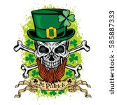 irish coat of arms with skull... | Shutterstock .eps vector #585887333