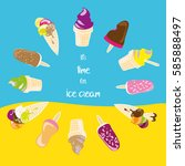 it's time for ice cream  vector ... | Shutterstock .eps vector #585888497