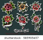 vector traditional tattoo roses ... | Shutterstock .eps vector #585905657