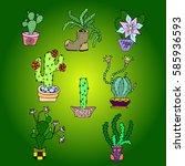 set of cactus. | Shutterstock .eps vector #585936593